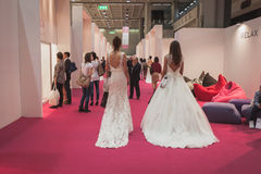 Models wearing wedding dresses at Si' Sposaitalia in Milan, Italy Royalty Free Stock Image