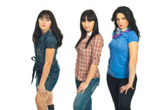 Models women posing in a line Royalty Free Stock Photo