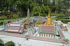 Models of world attractions in Mini Siam park in Pattaya, Thailand royalty free stock photos