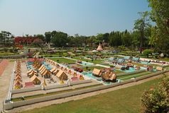 Models of world attractions in Mini Siam park in Pattaya, Thailand. THAILAND, PATTAYA, APRIL 7, 2014: Models of world attractions in Mini Siam park in Pattaya stock image
