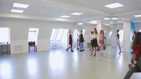 In modelschool worden de wijfjes klaar voor vervuilen stock video