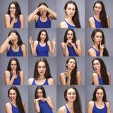 Modeltestscollage van emoties - portret van een jonge mooie donkerbruine vrouw op een grijze achtergrond royalty-vrije stock afbeelding