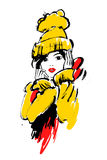 Modemädchen in der Skizzenart Lizenzfreie Stockbilder