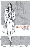 Modemädchen in der Skizzenart Auch im corel abgehobenen Betrag graphiken lizenzfreie abbildung