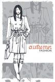 Modemädchen in der Skizzenart Auch im corel abgehobenen Betrag graphiken stock abbildung