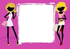 Modemädchen mit Einkaufstasche und Rahmen Lizenzfreies Stockfoto