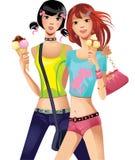 Modemädchen mit Eiscreme Lizenzfreies Stockfoto