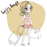 Modemädchen mit Koffern stock abbildung