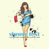 Modemädchen in Skizze-ähnlichem. Stockfotografie