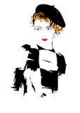 Modemädchen in Skizze-ähnlichem Stockfoto