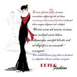 Modemädchen in Skizze-ähnlichem Lizenzfreie Stockfotografie