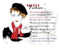 Modemädchen in Skizze-ähnlichem Lizenzfreie Stockfotos