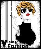 Modemädchen in Skizze-ähnlichem Lizenzfreies Stockfoto