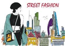 Modemädchen in Skizze-ähnlichem Stockbilder