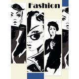 Modemädchen in Skizze-ähnlichem Lizenzfreie Stockbilder