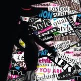 Modemädchen in Skizze-ähnlichem Stockfotos
