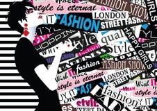 Modemädchen in Skizze-ähnlichem Stockfotografie