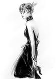 Modemädchen in Skizze-ähnlichem Stockbild