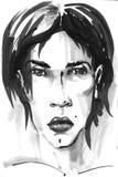 Modemädchenillustration Übergeben Sie gezogenes Porträt eines Modellgesichtes der jungen Frau Skizze, Markierung, Aquarell Stockbild