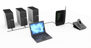 Modem and computer connections Stock Photos