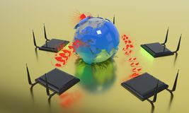 Modem connection concept in the world, 3d rendering. Modem connection concept in the world, 3d render Royalty Free Stock Photo