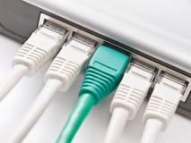 Modem die aan het netwerk wordt aangesloten Stock Foto's