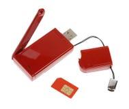 modem kablowy czerwieni usb Zdjęcie Stock