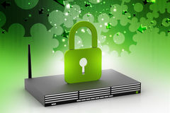 Modem with padlock sign Royalty Free Stock Photography