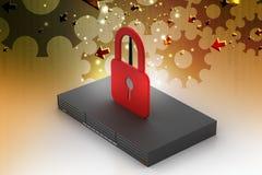 Modem with padlock sign Stock Image