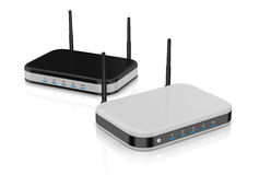 Modem router. Two modem router in different colors (3d render vector illustration