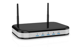 Modem router. One modem router with two antennas for wireless network (3d render stock illustration