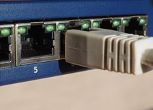 Modem router switch with RJ45 ethernet plug ports. Modem router switch with ports for RJ45 plug in LAN local area network ethernet connection Royalty Free Stock Photo