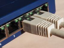 Modem router switch with RJ45 ethernet plug ports. Modem router switch with ports for RJ45 plug in LAN local area network ethernet connection Stock Image