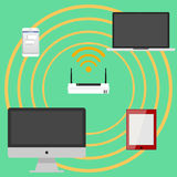 The modem transmits the wi-fi signal Royalty Free Stock Photography