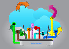 Modem wireless cloud Stock Image