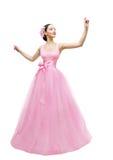 Modemodell Ball Dress, kvinna i lång rosa kappa, asiatisk flicka Arkivfoton