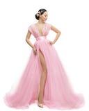 Modemodell Dress, kvinna i lång rosa kläder, asiatisk flicka Royaltyfria Bilder