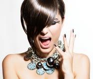 Modemodell Girl Portrait Royaltyfria Bilder