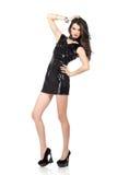 Modemodell i sequinklänning Fotografering för Bildbyråer