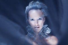 Modemodell med isfrostmakeup Arkivfoton