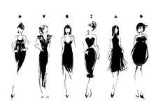 Modemodeller skissar in stil samlingen klär afton Kvinnliga kroppstyper arkivfoton