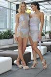 Modemodeller som bär sexiga klänningar Royaltyfri Foto
