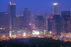 Moden city night scenes. Qingniwa bridge night scenes Dalian, China Royalty Free Stock Images
