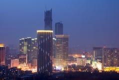 Moden city night scenes. Qingniwa bridge night scenes Dalian, China Royalty Free Stock Photo