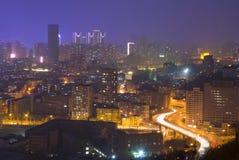 Moden city night scenes. Qingniwa bridge night scenes Dalian, China Stock Images