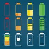 Moden illustration av batteriindikatorn, laddningssymboler Vektor Illustrationer