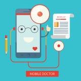 Moden illustration av mobil sjukvårdservice, direktanslutet Vektor Illustrationer