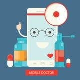 Moden illustration av mobil sjukvårdservice, direktanslutet Arkivfoton
