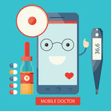 Moden  illustration of mobile healthcare services,  online Stock Images
