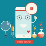 Moden  illustration of mobile healthcare services,  online Royalty Free Stock Images